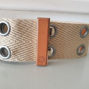 """Tory Burch 2 1/2"""" Adjustable Belt  Brown and Tan"""